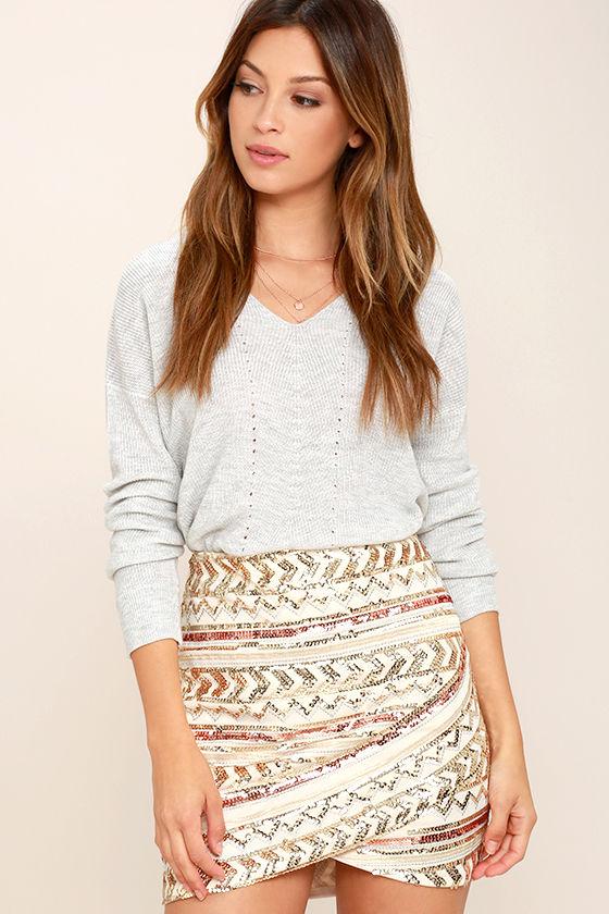 Sexy Cream Skirt - Sequin Skirt - Mini Skirt - Embroidered Skirt ...