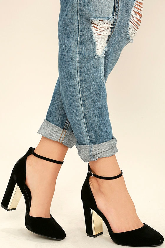 Chic Black Velvet Heels Ankle Strap Heels Block Heels