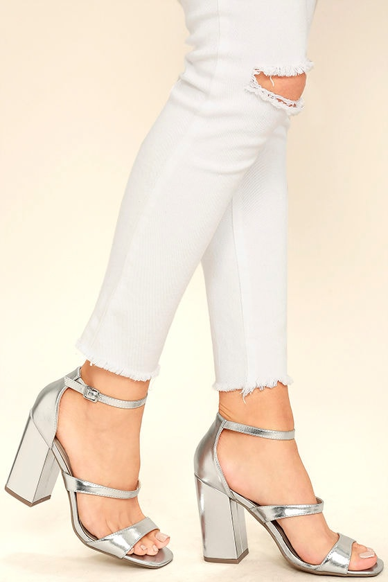 super cheap high quality materials clearance prices Christina Silver Ankle Strap Heels