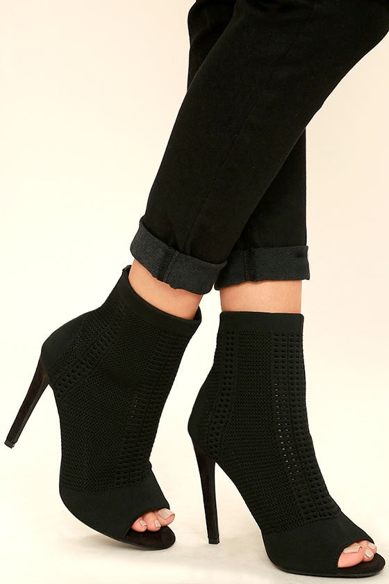 Cosmia Black High Heel Peep-Toe Booties 2
