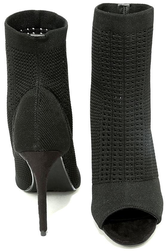 Cosmia Black High Heel Peep-Toe Booties 3