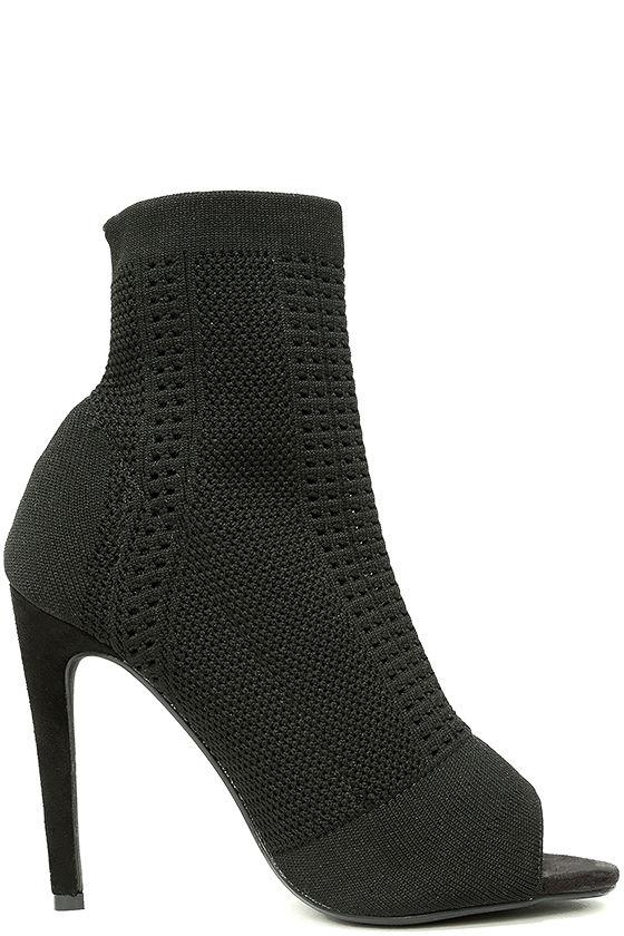 Cosmia Black High Heel Peep-Toe Booties 4