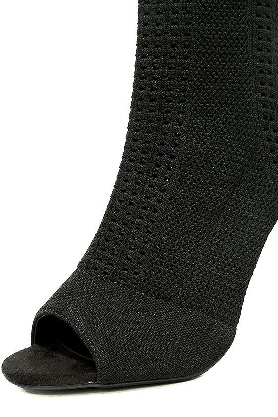 Cosmia Black High Heel Peep-Toe Booties 6