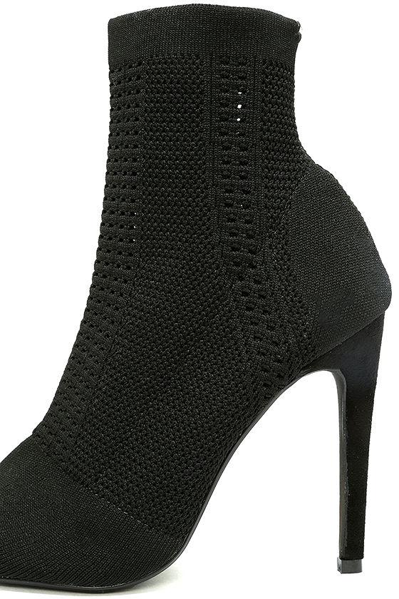 Cosmia Black High Heel Peep-Toe Booties 7