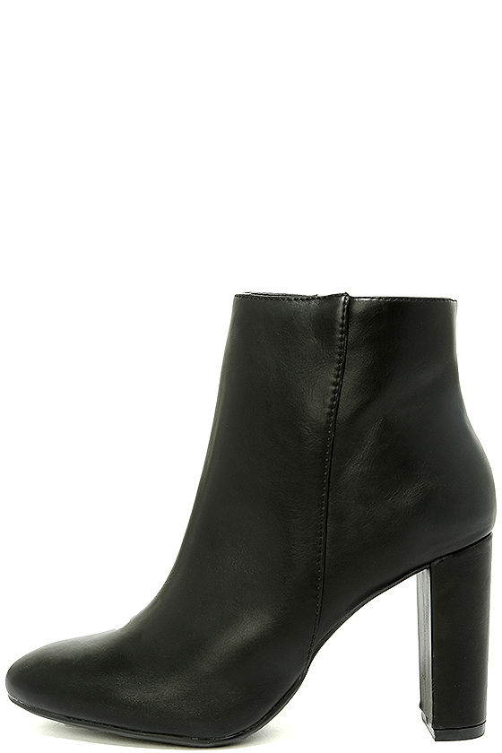 cf360d59a77e Stylish Black Booties - Vegan Leather Mid-Calf Boots - Mid-Calf Booties -   34.00