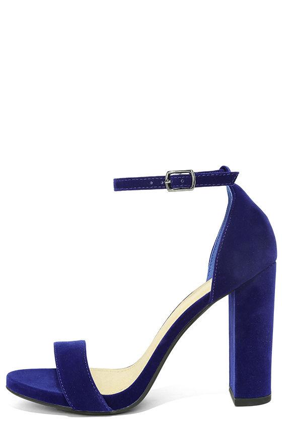 Chic Navy Blue Heels - Velvet Heels - Block Heels - $25.00