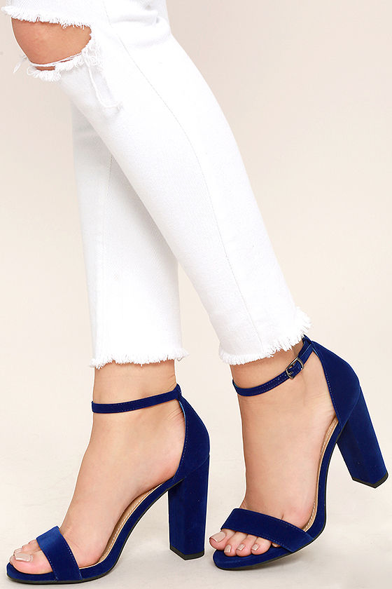 250eddec471d Chic Navy Blue Heels - Velvet Heels - Block Heels -  25.00