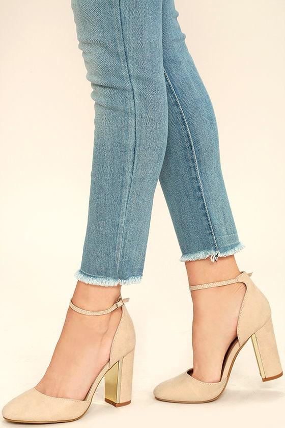 Chic Nude Suede Heels - Ankle Strap Heels - Block Heels - $30.00