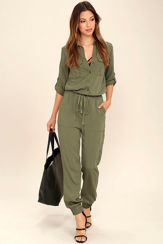 Cool Olive Green Jumpsuit Three Quarter Sleeve Jumpsuit