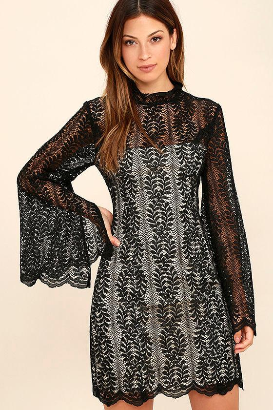 Keepsake Uptown - Black Lace Dress - Bell Sleeve Dress - Sheath ...
