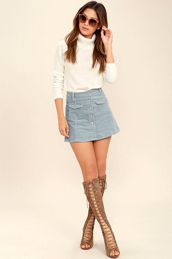 Rhythm Pennylane Skirt - Light Blue Corduroy Skirt - Mini Skirt ...