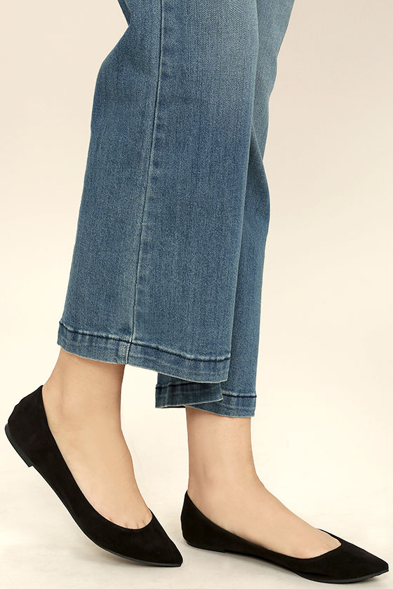 Lucille Black Suede Pointed Flats 2