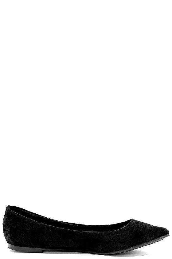 Lucille Black Suede Pointed Flats 4
