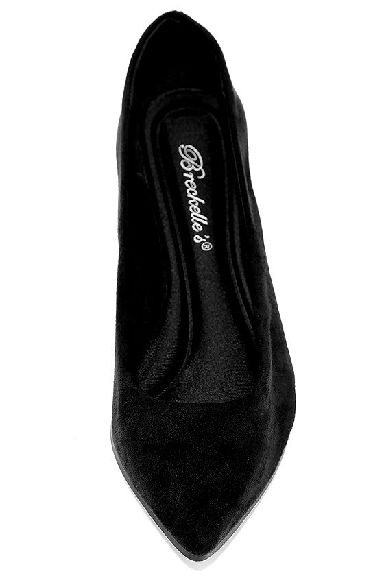 Lucille Black Suede Pointed Flats 5
