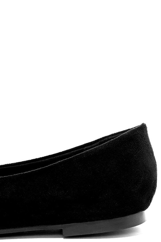Lucille Black Suede Pointed Flats 7