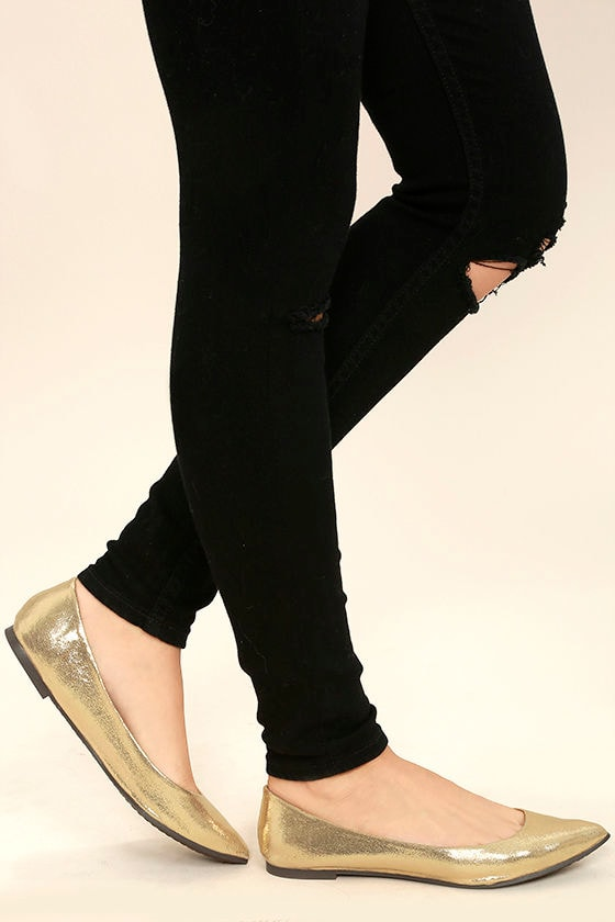 Lucille Gold Pointed Flats 1