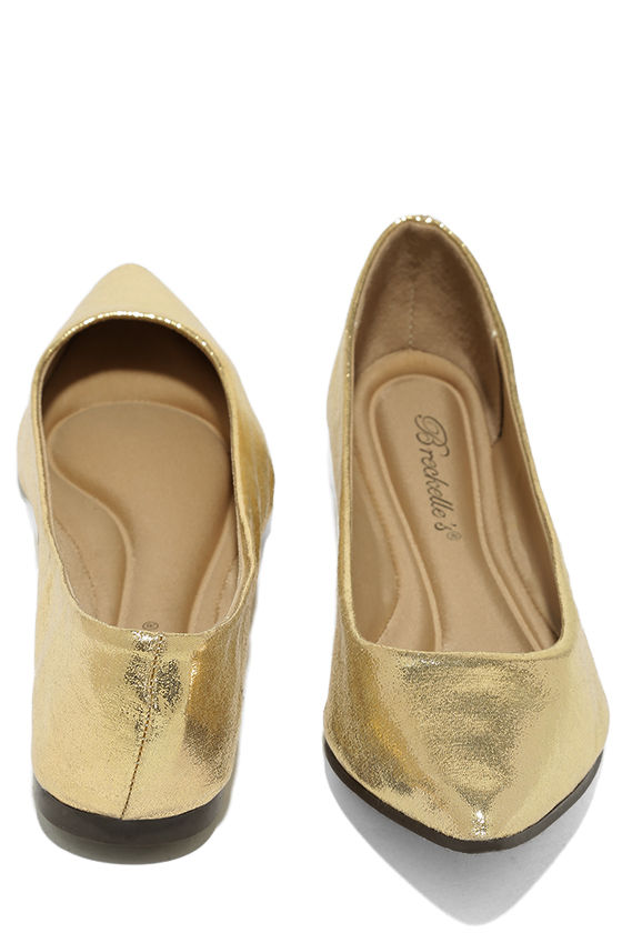Lucille Gold Pointed Flats 3