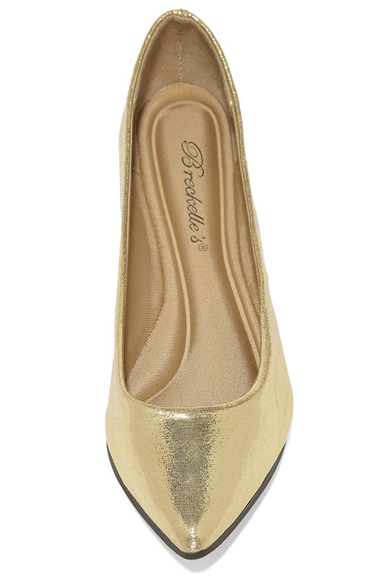 Lucille Gold Pointed Flats 5