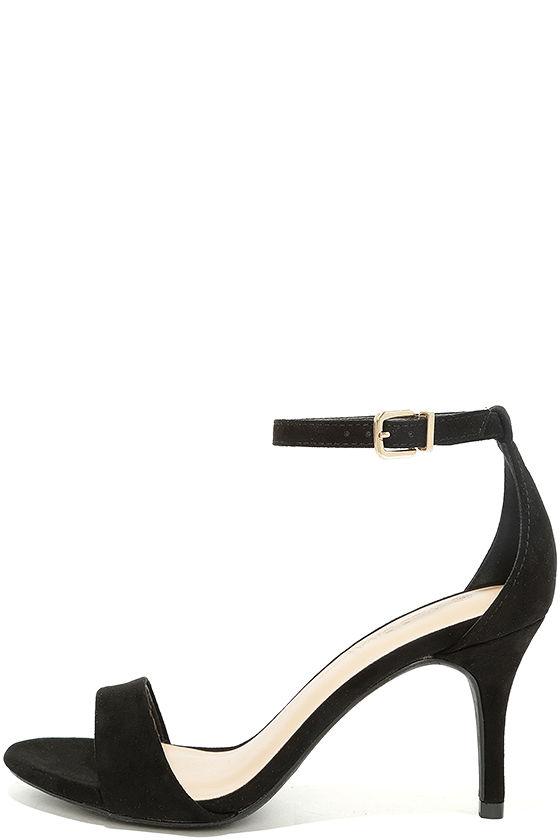 Classic Black Heels - Black Single Sole Heels - Black Ankle Strap ...