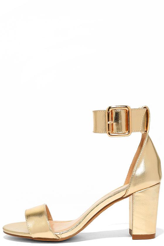 Classic Gold Heels - Gold Ankle Strap Heels - Metallic Heels - $32.00