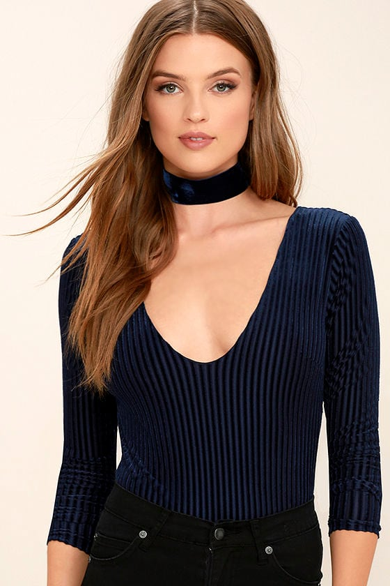 Chic Navy Blue Bodysuit Ribbed Velvet Bodysuit Backless Bodysuit 45 00 Lulus