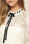Lovely White Dress Lace Dress Three Quarter Sleeve Dress 9800
