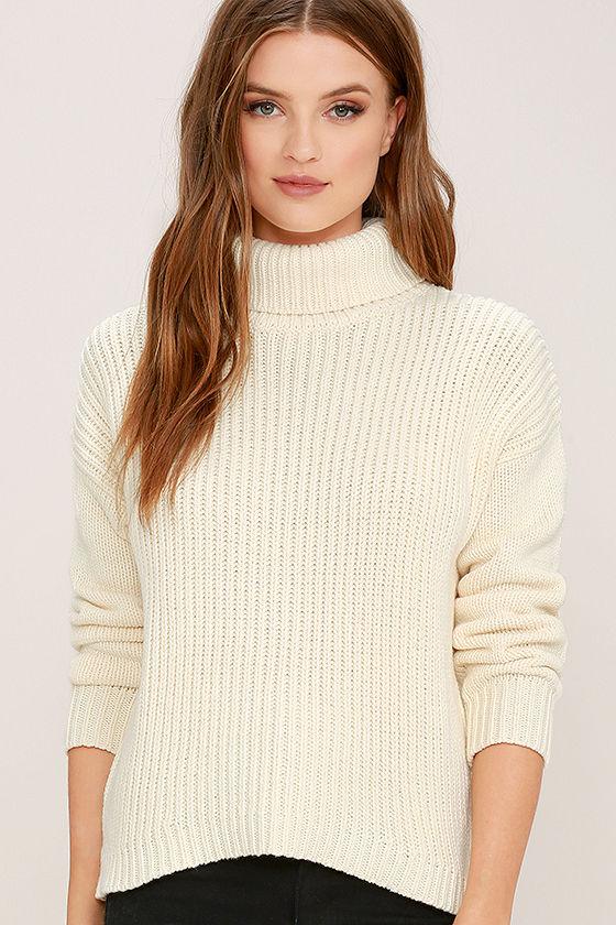 Rhythm Snowflake - Cream Sweater - Knit Sweater - Turtleneck ...
