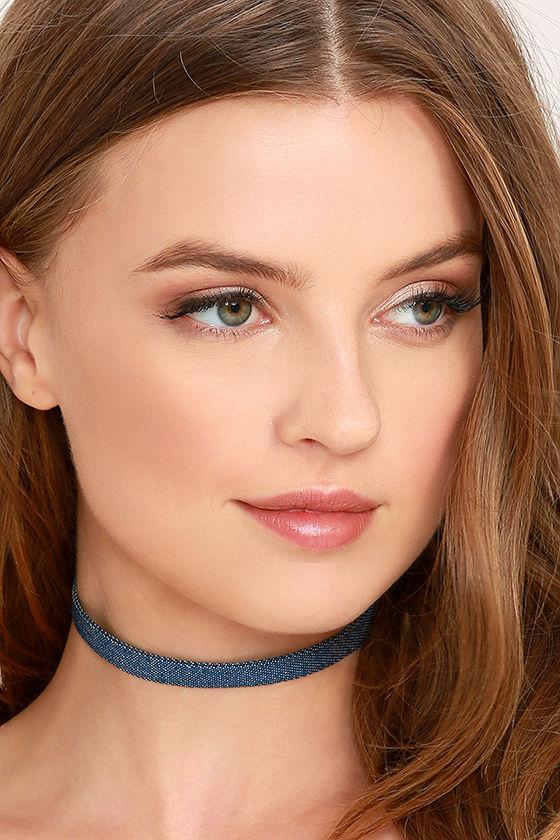 Norma Jean Blue Denim Choker Necklace 1