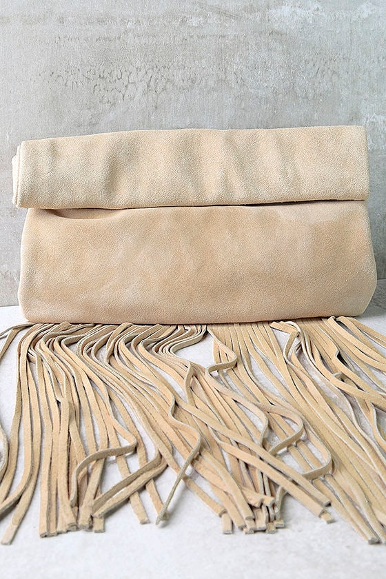 Palomino Beige Suede Leather Fringe Clutch 1