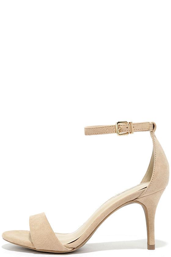 Lover Natural Suede Ankle Strap Heels 1