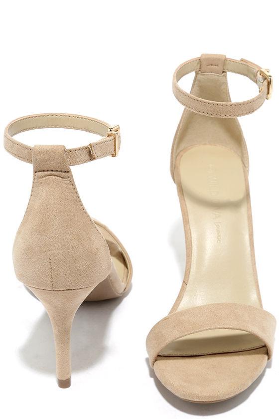 Lover Natural Suede Ankle Strap Heels 3