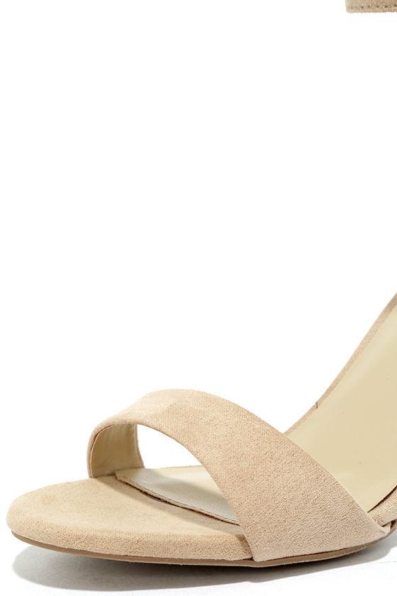 Lover Natural Suede Ankle Strap Heels 6