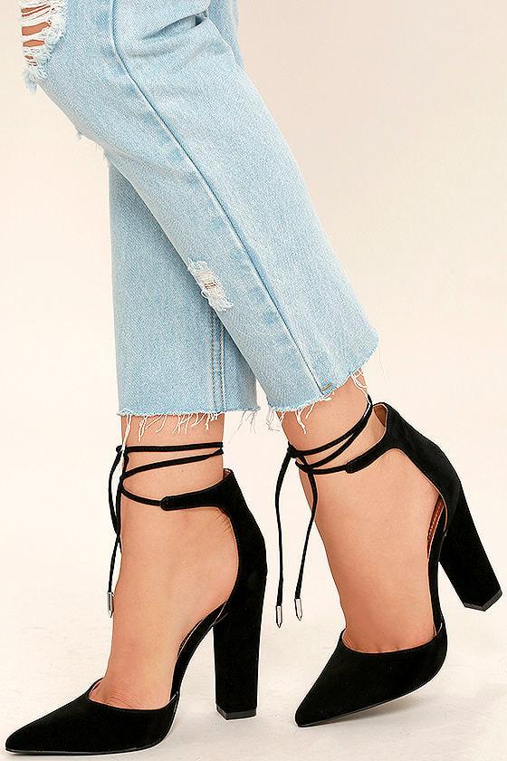 63411210cdfc Sexy Black Heels - Black Vegan Suede Pumps - Lace-Up Heels -  32.00