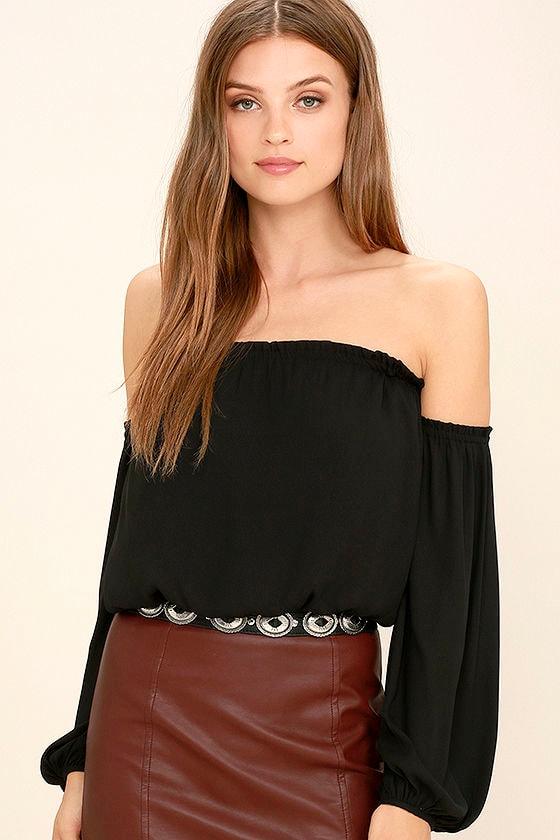 573a84a5867a8 Chic Black Top - Off-The-Shoulder Top - Long Sleeve Top - Crop Top -  42.00