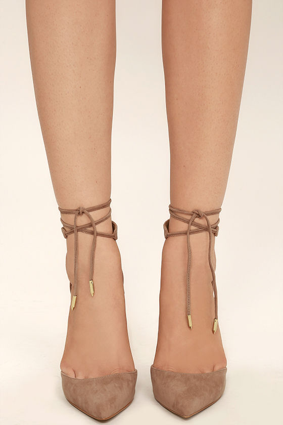 Angela Taupe Suede Lace Up Heels