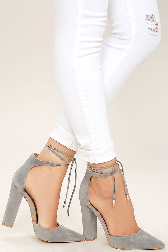 Sexy Grey Heels - Grey Vegan Suede