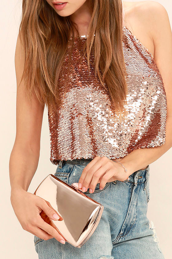 Reflected Image Rose Gold Mirrored Clutch 3