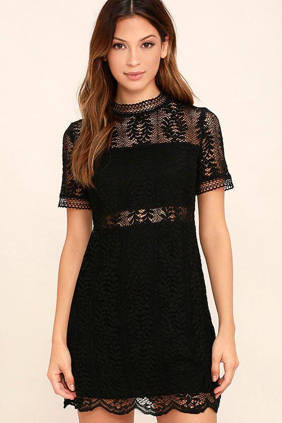 Mink Pink Tell Tale - Black Lace Dress - Sheath Dress - Short Sleeve ... b348991b2