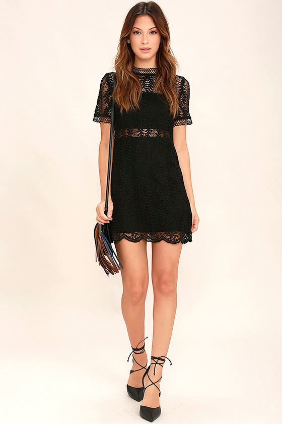 Mink Pink Tell Tale - Black Lace Dress - Sheath Dress - Short ...