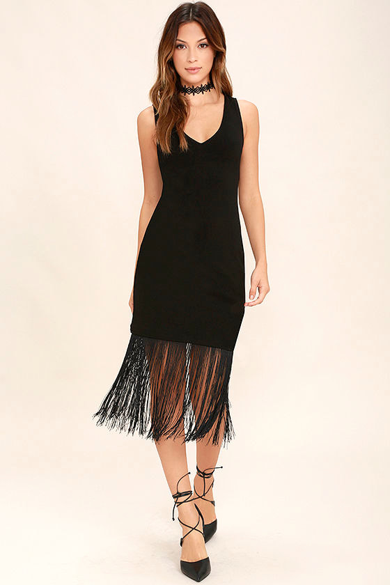 Jack by BB Dakota Evezen - Black Bodycon Dress - Fringe Dress - $66.00