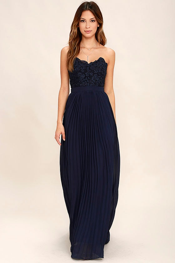 Lovely Navy Blue Maxi Dress - Strapless Maxi Dress - Lace Maxi ...