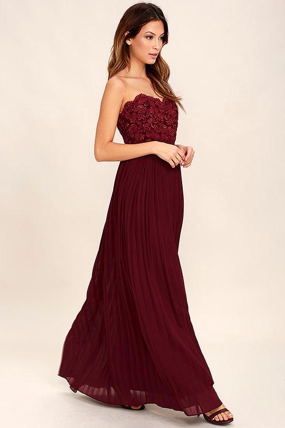 1c55189f89 Lovely Burgundy Maxi Dress - Strapless Maxi Dress - Lace Maxi Dress ...