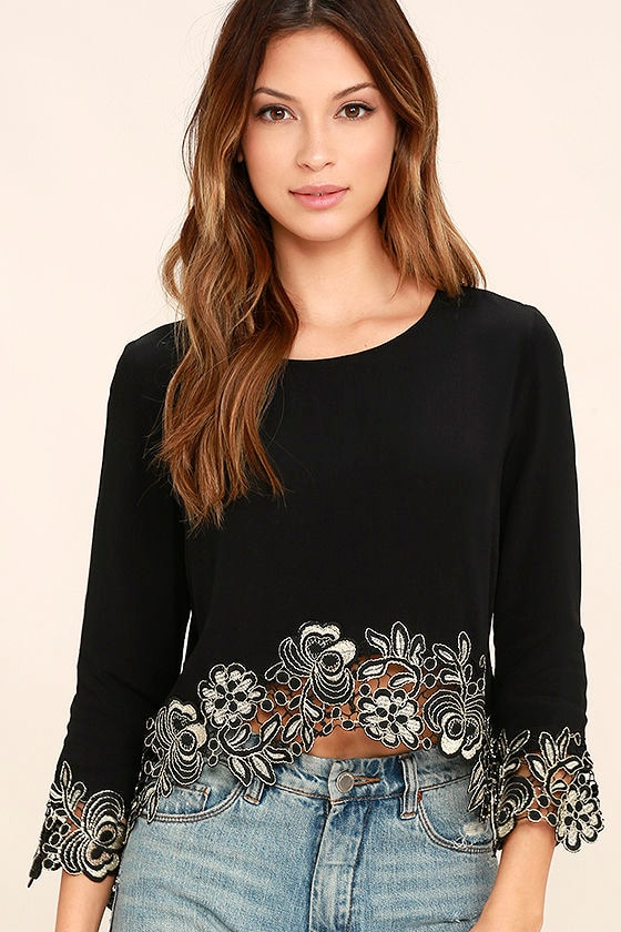 98a4cb6c843 Chic Black Top - Crop Top - Embroidered Top - Long Sleeve Top - $56.00