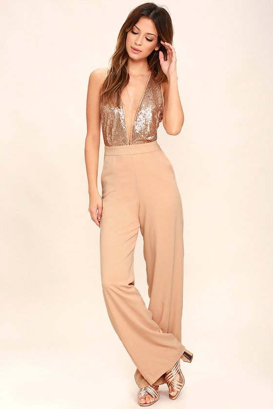 Disco Heaven Beige Sequin Jumpsuit 1
