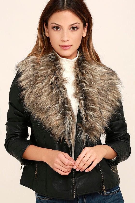 2e367a88c3a9 BB Dakota Henslowe Jacket - Faux Fur Jacket - Vegan Leather Moto Jacket -  $103.00