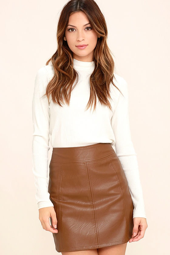 Chic Brown Skirt - Vegan Leather Skirt - Mini Skirt - $48.00