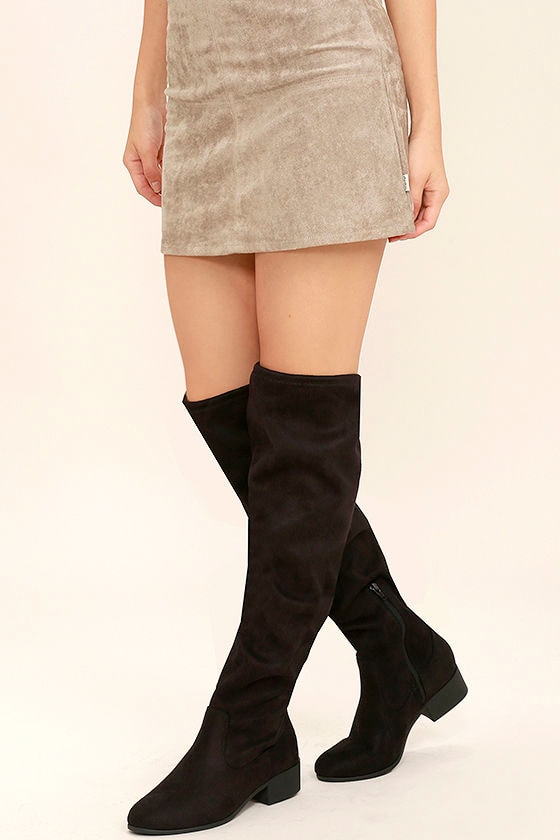 56d163cad17f Chic Black Boots - Over The Knee Boots - Vegan Suede Boots - OTK Boots -   40.00