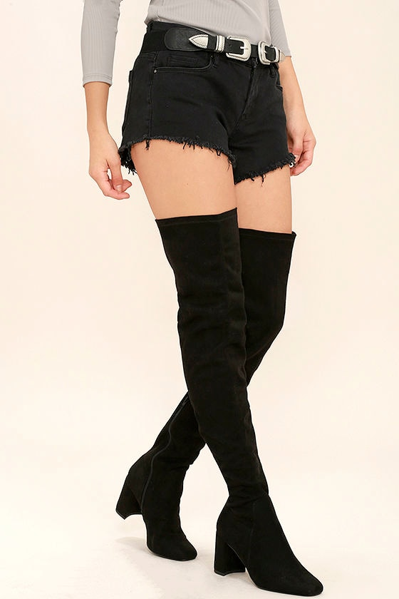 6d53cf2b7508 Sexy Black Boots - Thigh High Boots - Black Vegan Suede Boots -  39.00