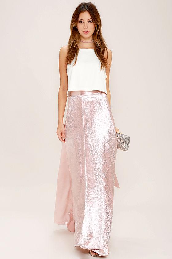 3f063959f66 Chic Blush Pink Skirt - Satin Skirt - Maxi Skirt -  62.00