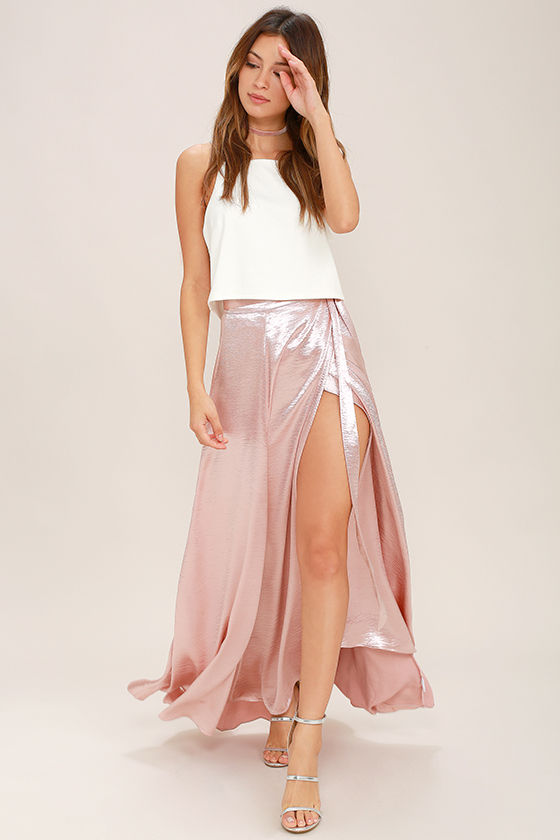 Chic Blush Pink Skirt - Satin Skirt - Maxi Skirt - $62.00